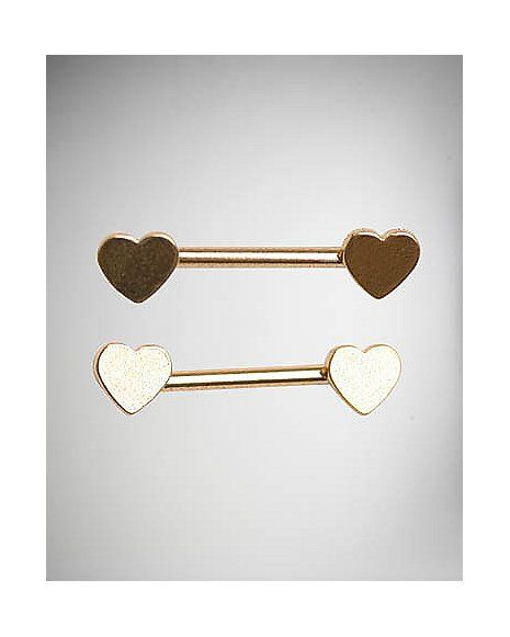 Heart Nipple Barbells - 14 Gauge - Spencer's