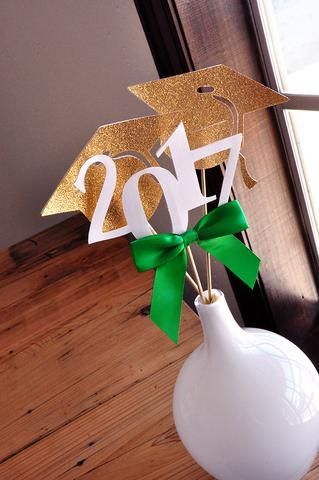 2017 Graduation Centerpiece. Set of 3 Sticks.  Green Graduation Party Supplies. Handmade in 1-3 Business Days. Graduation Party Decor.