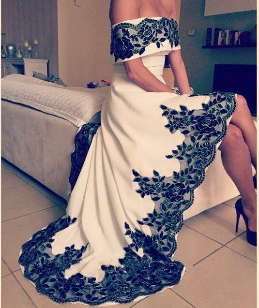 Barato Robe de soirée de Arbaic alta baixa vestidos Sexy fora do ombro vestidos de apliques branco e preto, Compro Qualidade Vestidos de Baile de Estudantes diretamente de fornecedores da China:               Bem-vindo à minha loja                               Por que escolher a noss