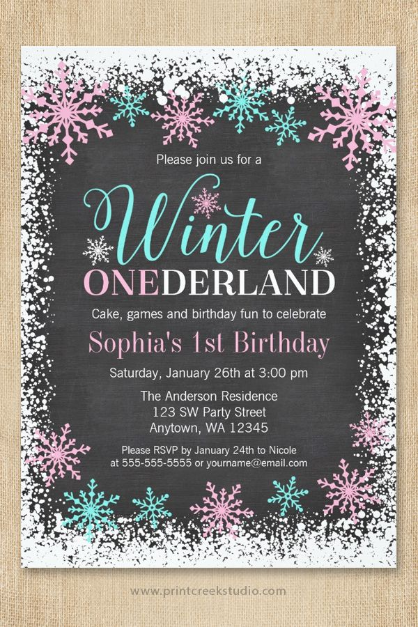 Cute Winter ONEderland invitation for a girl 1st birthday party. Sweet pastel pink and teal blue snowflakes, white snow border and whimsical script font on a chalkboard background.