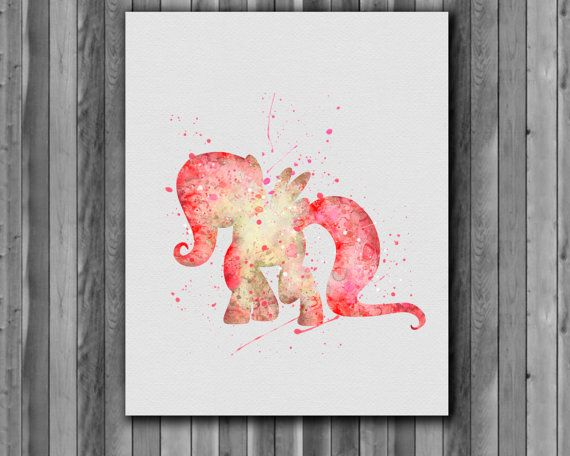 Fluttershy Watercolor Print    Instant Download Printable  You'll receive an 8x10 inch printable INSTANT DOWNLOAD of a wonderfully creative art