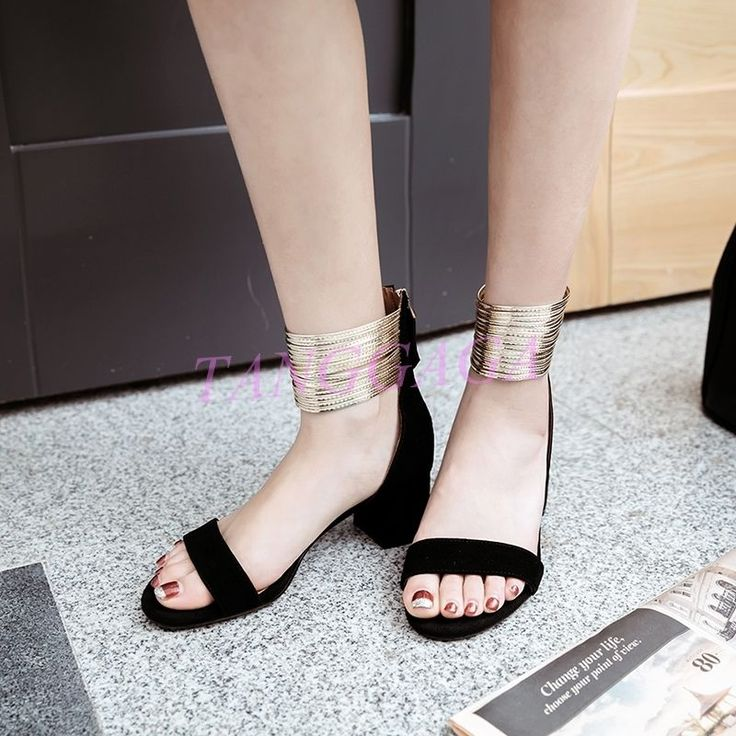 Sexy Stylish Womens Med Block Heeled Office Sandals Ankle Layered Back Zip Shoes