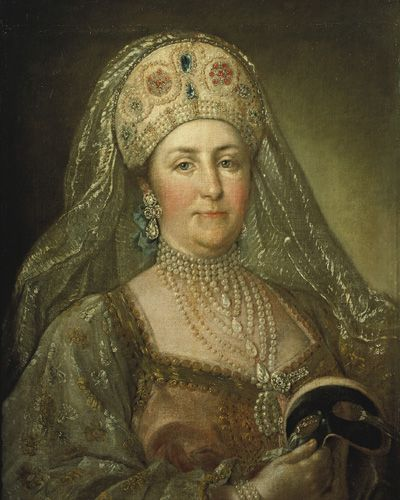 This portrait of Catherine II The Great of 1780, thought to be painted by Italian artist Stefano Torelli. Catherine is 51 years old here. Catherine wears a replica of ancient Russian gown prepared for masquerade. Catherine enjoyed Russian style in gowns as it made her body looked thinner but Russian court followed French fashion. The combination of Russian and European styles in great gowns of women appeared only with Catherine's grandson Nikolay I.