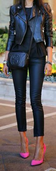 Black leather everything  + Pink high heel pumps - sexy street style