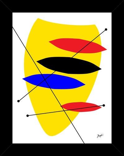 Caulderesque yellow framed art print retro pop abstract modern mid century style