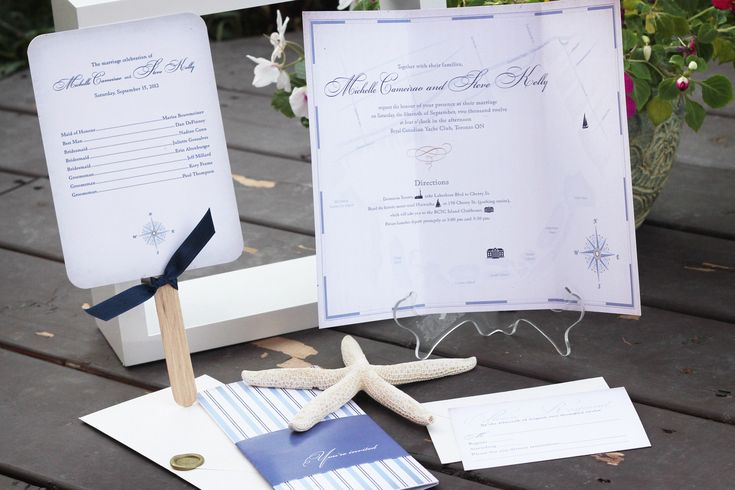 Vintage nautical wedding invitation package with paddle-fan program