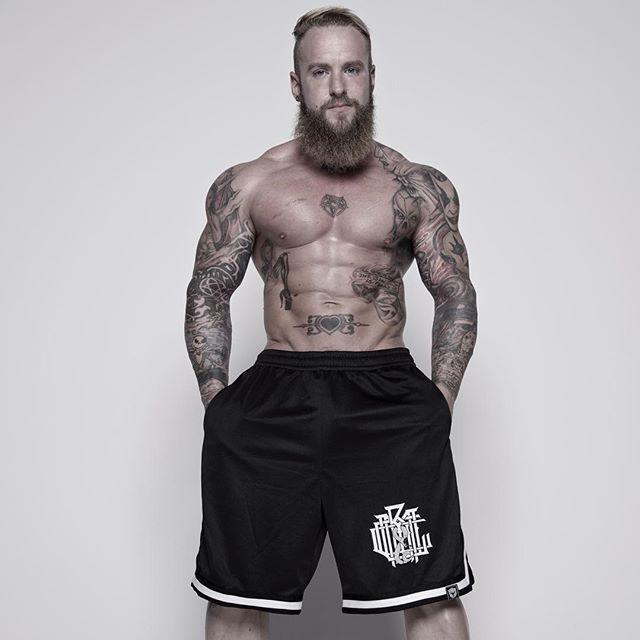 """Monogram"" Striped Mesh Shorts Available at www.crmcclothing.co | WE SHIP WORLDWIDE Model - Loco Mike Mason Photography - Darren Rowley Photography #muscle #shredded #ripped #hulk #bodybuilder #bodybuilding #wrestler #wrestling #dark #alternativeboy #fashionblog #fashion #locomikemason #workout #skatewear #urbanwear #Mikemason #gains #fashionaddict #basketballshorts #basketball #want #occult #beardedgents #beard #beardedmen #menwithbeards #love"