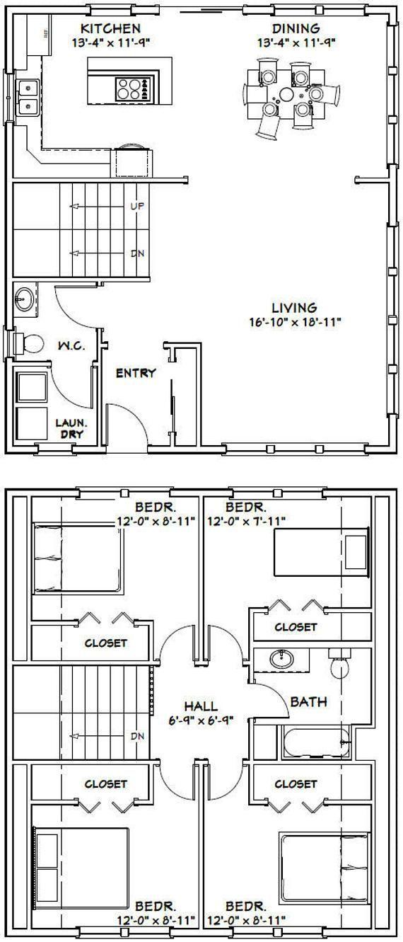 28x32 House 4 Bedroom 1 5 Bath 1544 Sq Ft Pdf Floor Etsy In 2020 Floor Plans Tiny House Floor Plans Square House Plans