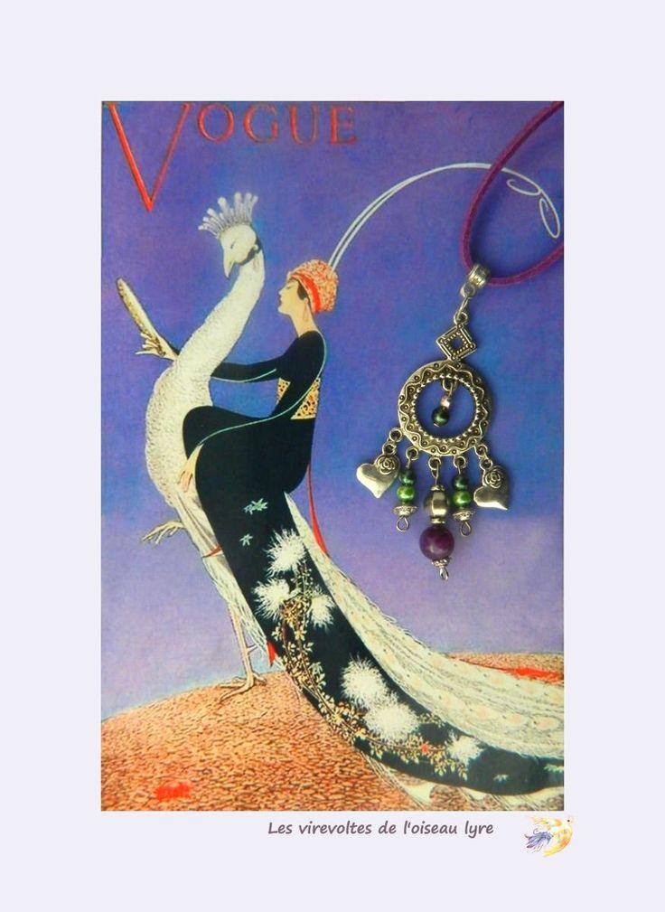 Collier, pendentif Bohème Chic, ethnique. Pierre fine, agate, Métal argenté et perles. Pièce unique. L'oiseau blanc. : Pendentif par les-virevoltes-de-l-oiseau-lyre