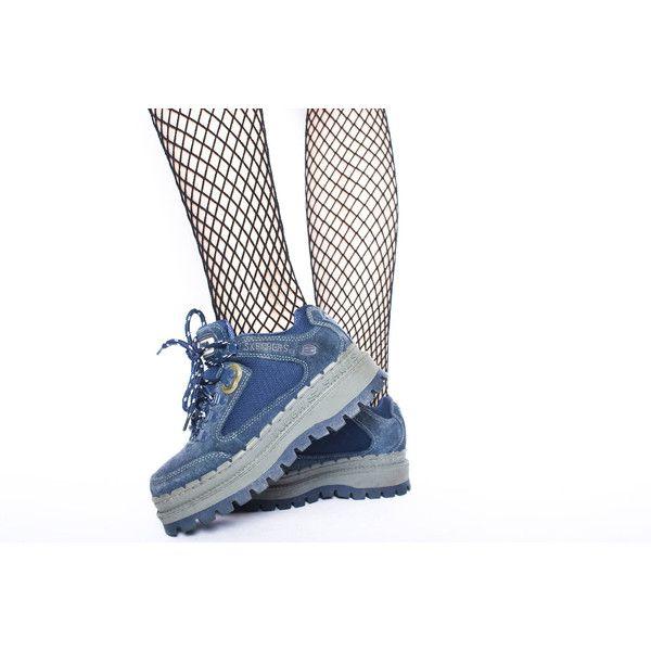 90s Vintage Skechers Blue Leather Treaded Lug Sole Fenty Style Hiking... ($144) ❤ liked on Polyvore featuring shoes, boots, blue leather shoes, chunky shoes, flatform boots, grunge boots and vintage grunge boots