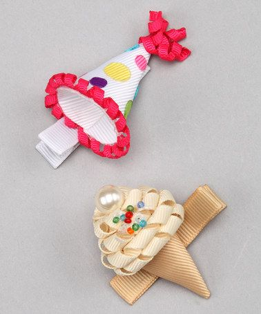 This Bubbly Bows Birthday Hat & Ice Cream Clip Set by Bubbly Bows is perfect! #zulilyfinds