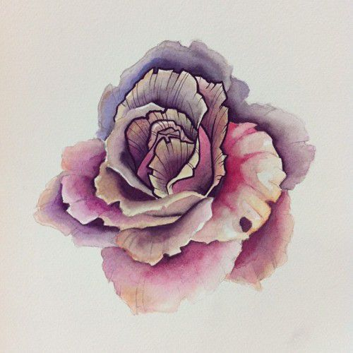 I love the watercolor floral with the outline details. I would love a tattoo of this on my ankle. Think it would be real cute.