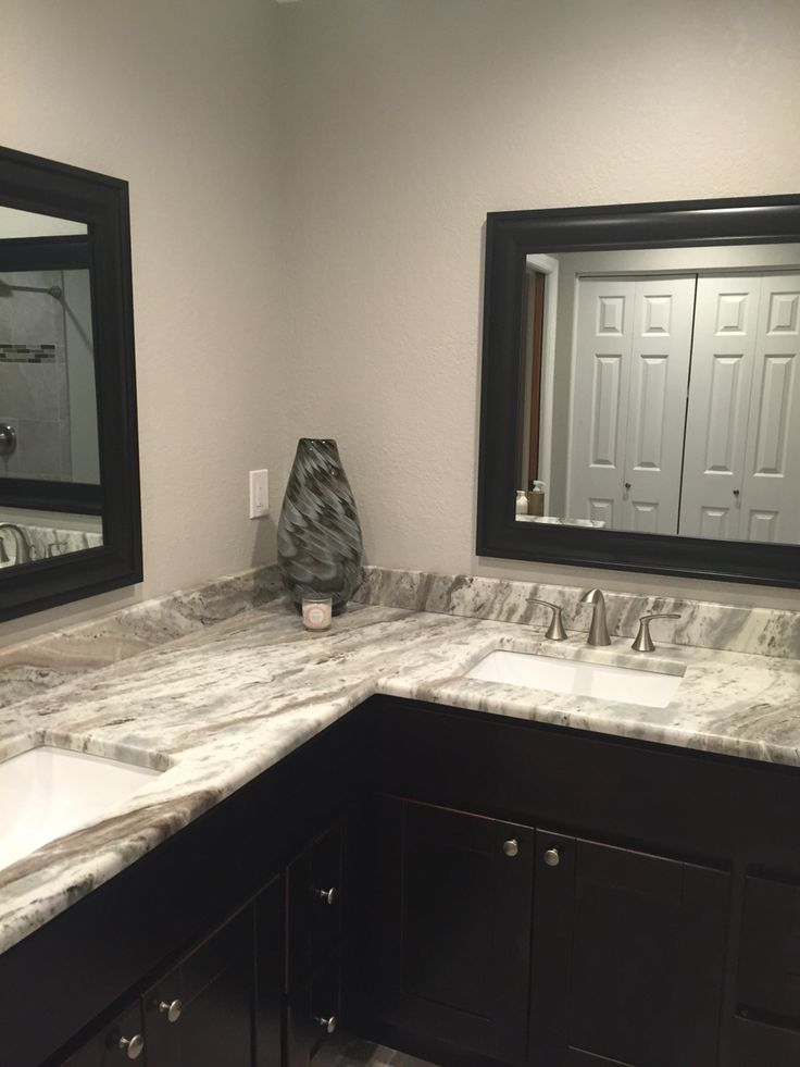 Bathroom Remodel In Quot Greige Quot Tones Brown Fantasy Granite On Espresso Cabinets Sh Bathrooms