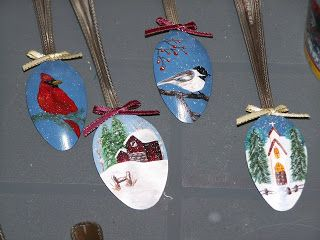 Hand painted spoon ornaments  Art Keeps Me Sane                                                                                                                                                                                 More