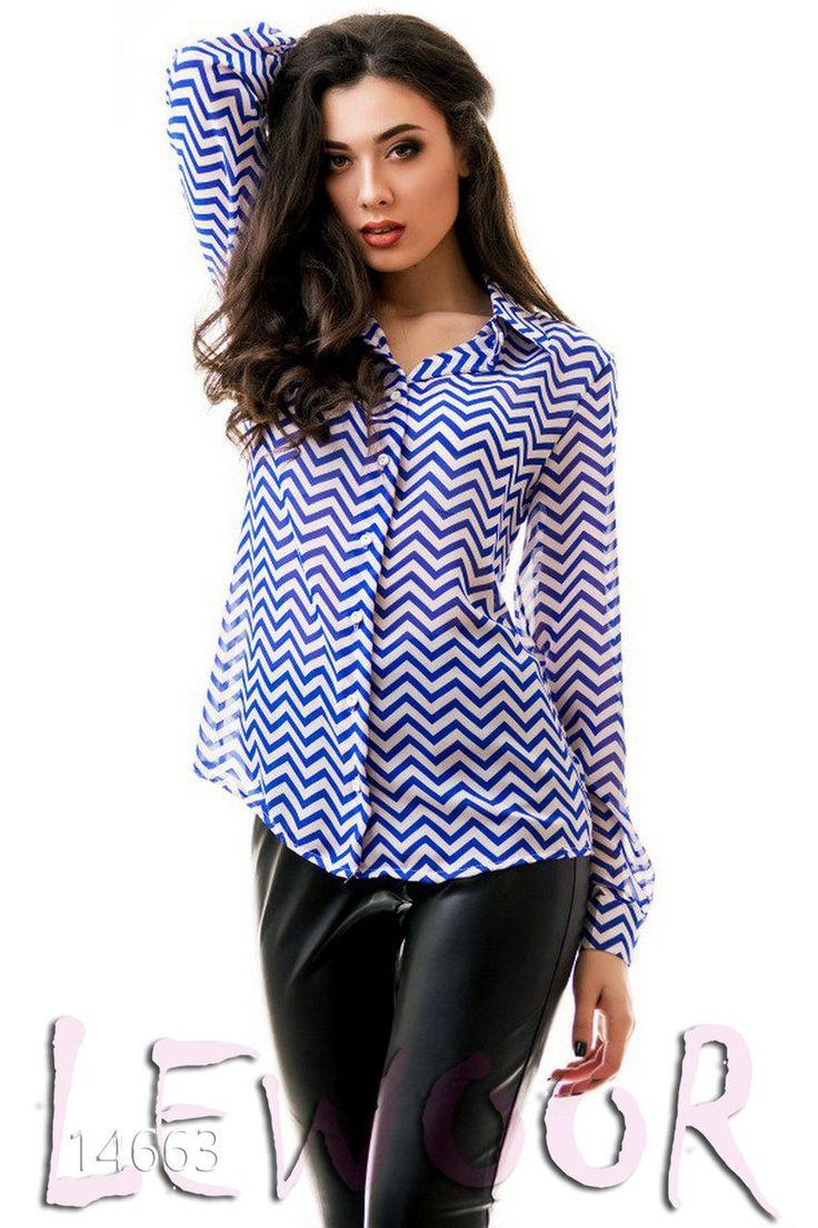 Воздушная шифоновая рубашка с принтом - купить оптом и в розницу, интернет-магазин женской одежды lewoor.com