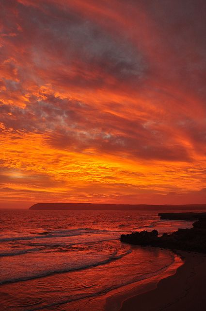 A firey sunset over the headland at Venus Bay, South Australia