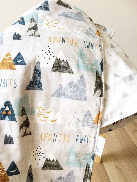 Modern Baby crib blanket. Reversible cot by ElskeLittleStyle