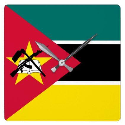 #Mozambique Flag Square Wall Clock - cyo customize design idea do it yourself