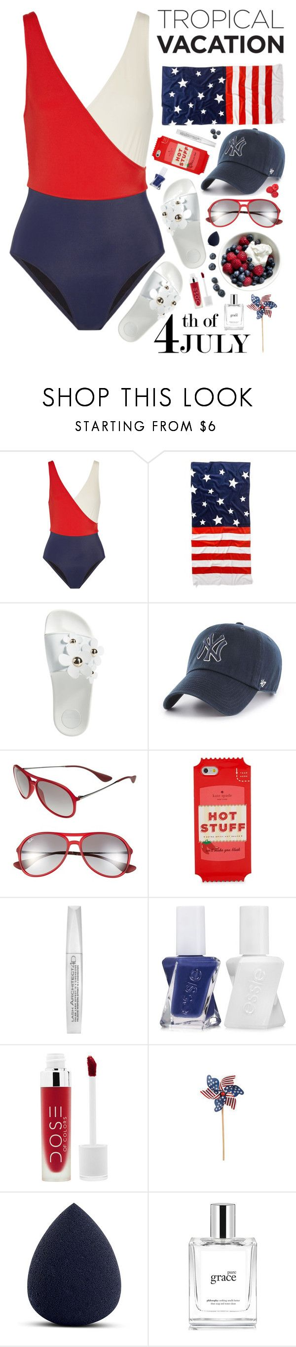 """""""Untitled #467"""" by almost-glamorous ❤ liked on Polyvore featuring Solid & Striped, Old Navy, Marc Jacobs, '47 Brand, Ray-Ban, Kate Spade, L'Oréal Paris, Essie, My Makeup Brush Set and philosophy"""