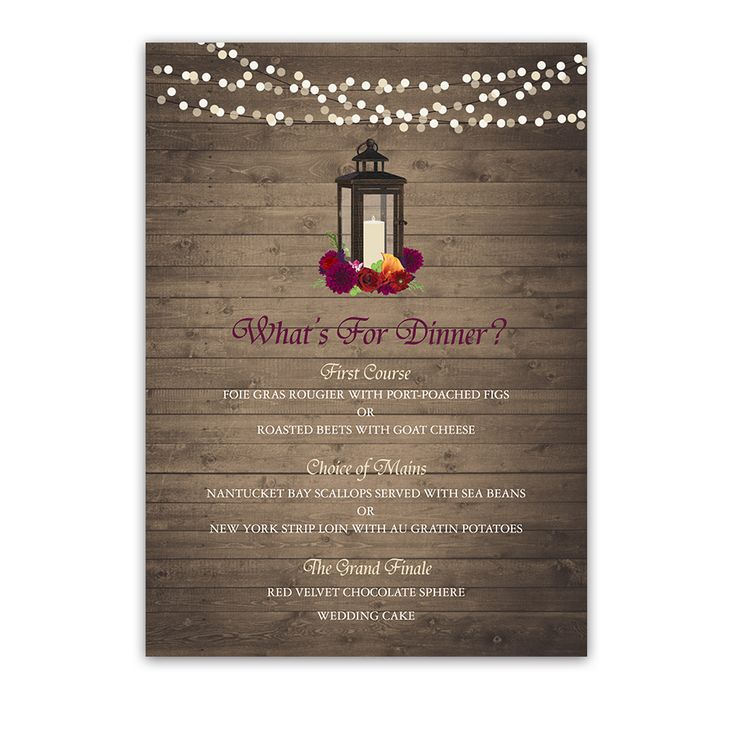 Rustic Wedding Menus Fall Florals on Barn Wood designed with autumn flowers and a metal lantern for rustic fall wedding celebrations.