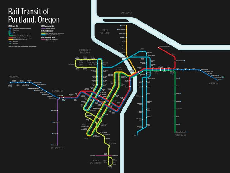 An unofficial transit map of Portland, Oregon that shows both light rail and streetcar service as they will be on September 22, 2012 with the opening