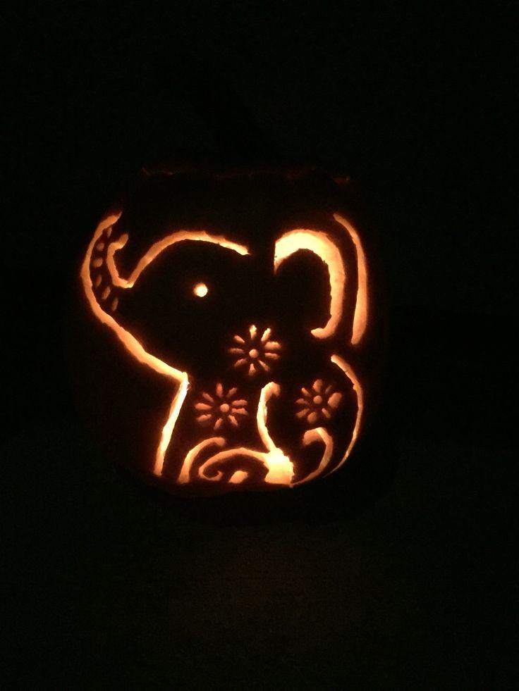 Cute elephant pumpkin carving