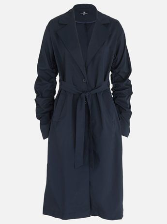 STYLE REPUBLIC Ruched Sleeve Trench Coat Navy
