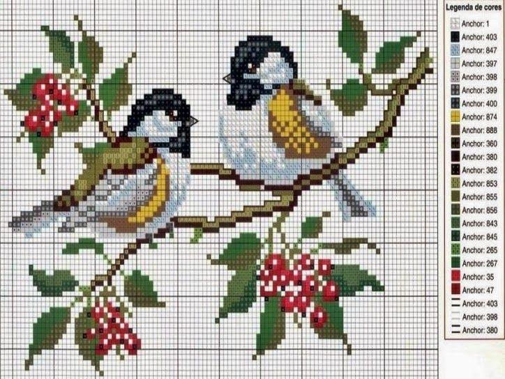 Dwa ptaszki na galazce haftem krzyzykowym | Haft krzyżykowy - inspiracje i wzory