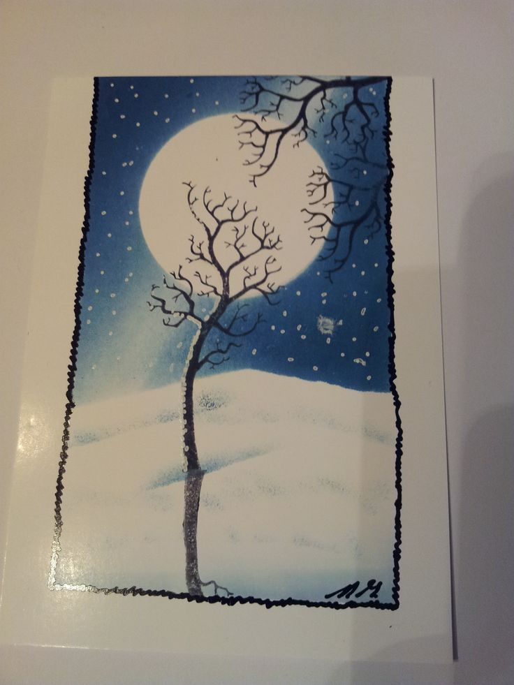 A Winter's Tree, using the naked tree from Clarity Stamps.