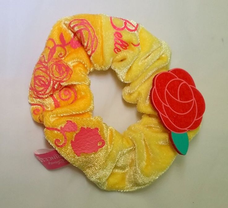 Disney Princess Belle Hair Scrunchie 3-D Yellow w/Pink Rose Beauty & the Beast #Disney #Scrunchies #Everyday