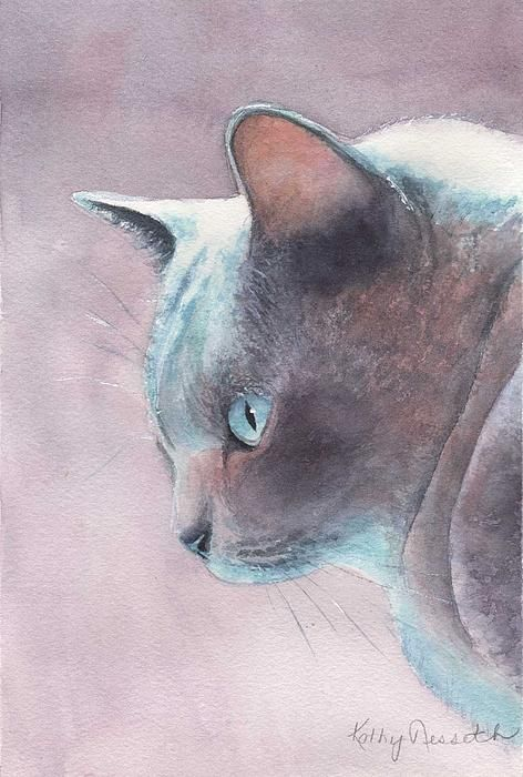 Watercolor of My Bleu Burmese ~ by Addie BleuCat Art, Art Watercolors, Blue Cat, Kathy Nesseth, Burmese Cats, Bleu Watercolors, Nesseth Watercolors, Blue Burmese, Bleu Burmese