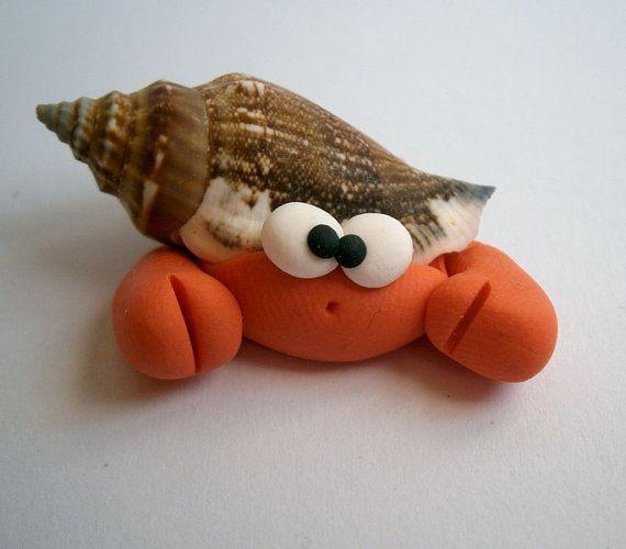For a beach garden . . . Hermit Crab - Paguro Bernardo (No69) - A Little Polymer Clay Creation