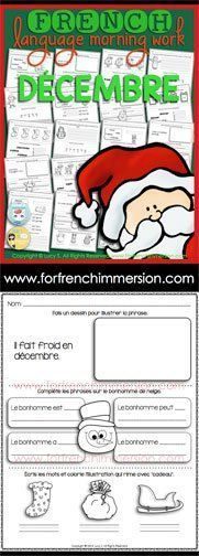 French Language Morning Work - 20 worksheets with exercises in French DECEMBER - en franais DÉCEMBRE