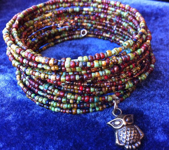 MultiColor Earth Tone Seed Bead Memory Wire Bracelet by BeadInHand, $15.00