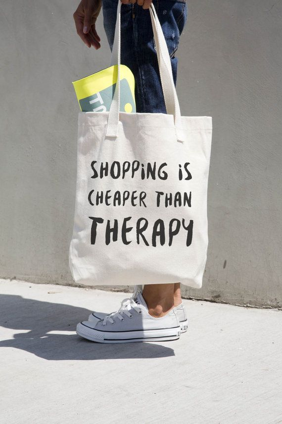Shopping Is Cheaper Than Therapy - Printed natural canvas funny and humorous tote bag.  --------------------------- BAG DETAILS
