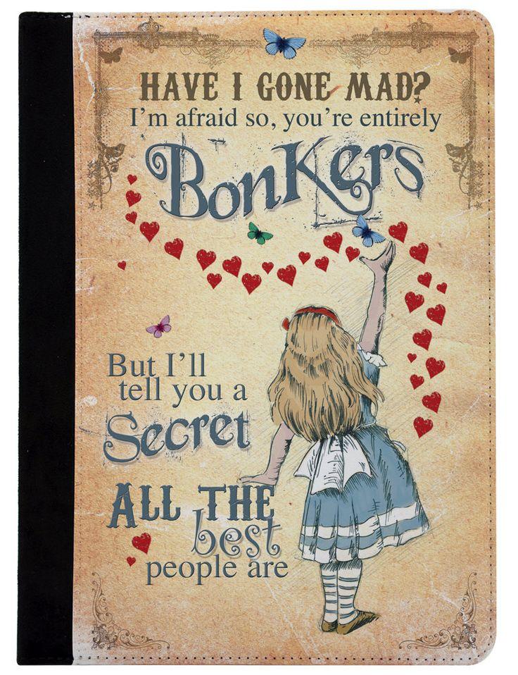 Alice in Wonderland Apple iPad - iPad Air - iPad Mini - Leather protective flip case cover Bonkers Hearts by GiraffeandCustard on Etsy