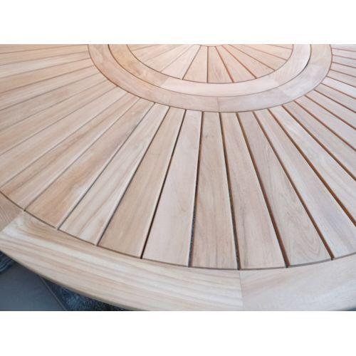 Table ronde teck massif avec plateau tournant d 150 ou - Salon de jardin en teck massif haut de gamme ...