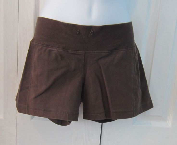 Lululemon brown athletic yoga sport shorts women #Lululemon #Shorts