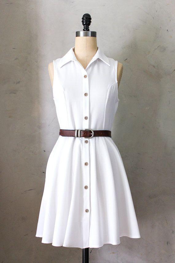 Sleeveless White Collar Shirt Dress By Fleetcollection