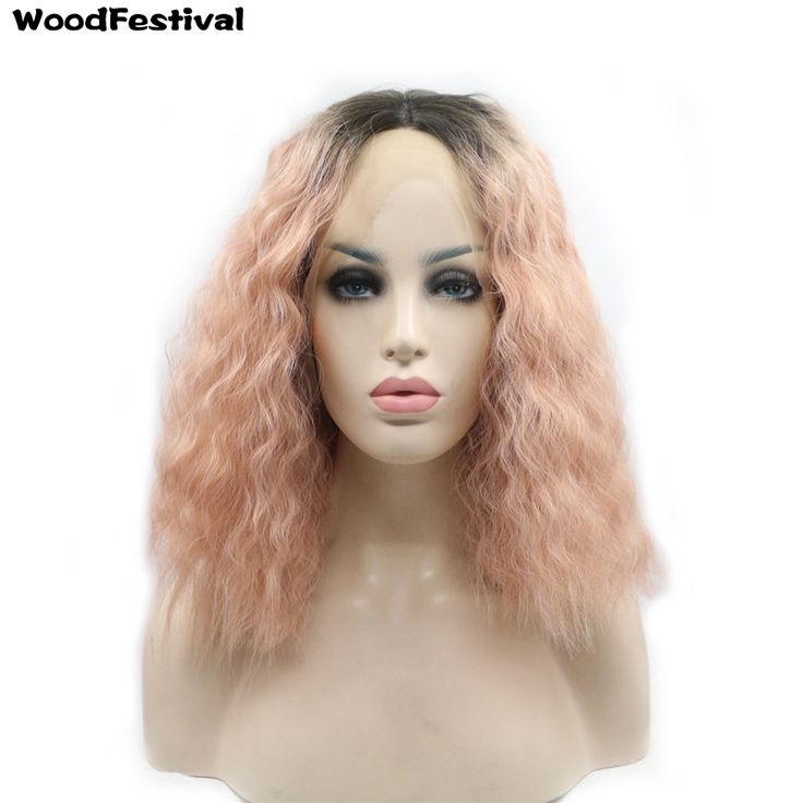 WOODFESTIVAL short rose gold wig lace black root wigs curly synthetic lace front wig ombre women hair wigs heat resistant