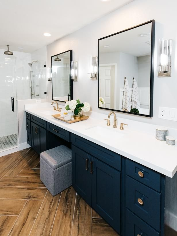 Modern Farmhouse Style Master Suite With Black Canopy Bed Hgtv S 2019 Designer Of Th Master Bathroom Renovation Bathroom Remodel Master Small Master Bathroom
