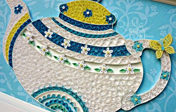 Чайник - Бумага рюш искусства -Quilled чайника - чайника искусство - первая годовщина свадьбы подарок