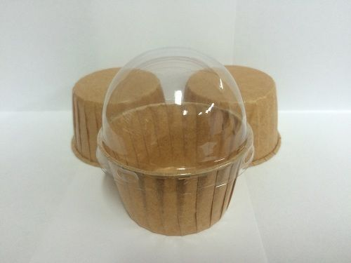 MUFFIN CASES Kraft with CLEAR LID 50 Per Pack Cupcake Boxes Cupcake Cases/Cups