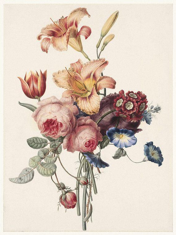 Modern Victorian Wall Art Flower Bouquet Victorian Wall Etsy Vintage Flower Prints Antique Bouquet Peony Illustration
