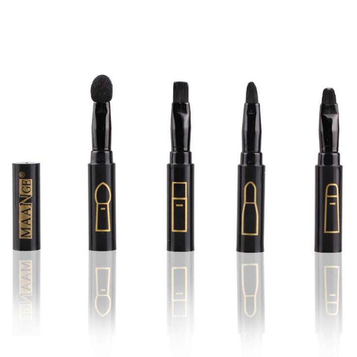 Multifuction 4 in 1 multi function Connectable Type Makeup Fiber brush eyeshadow sponge eyebrow lip brush set top quality