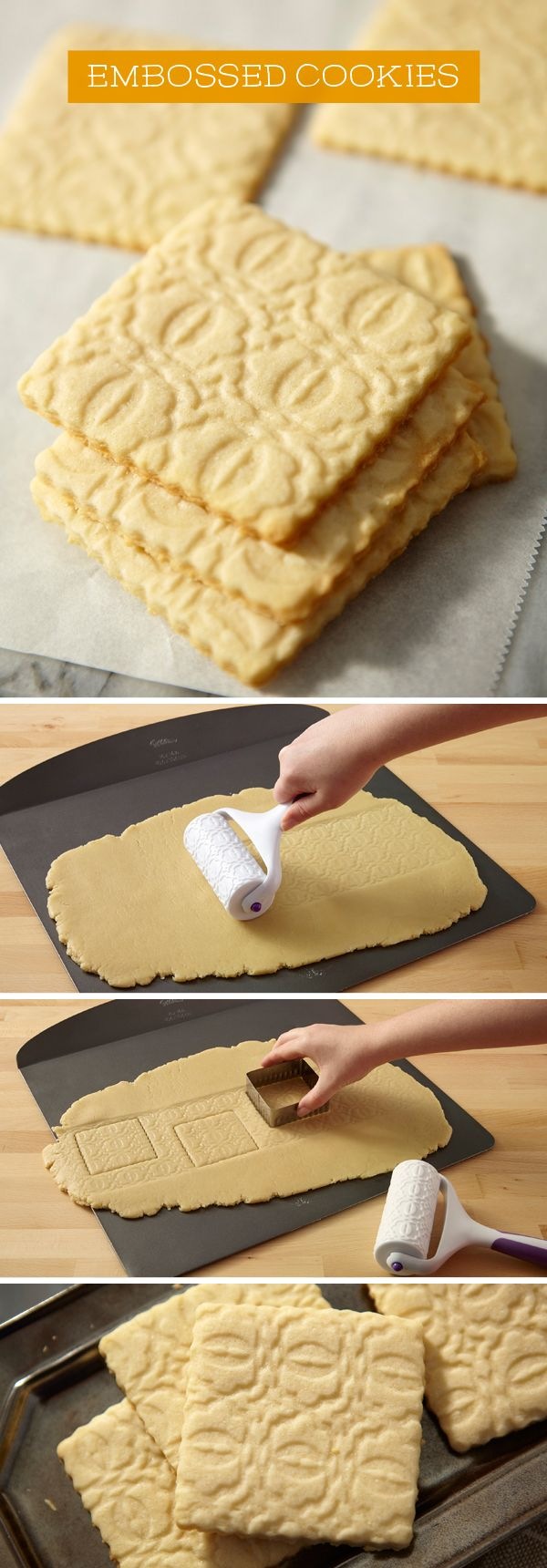 Use a geometric fondant roller to make embossed cookies