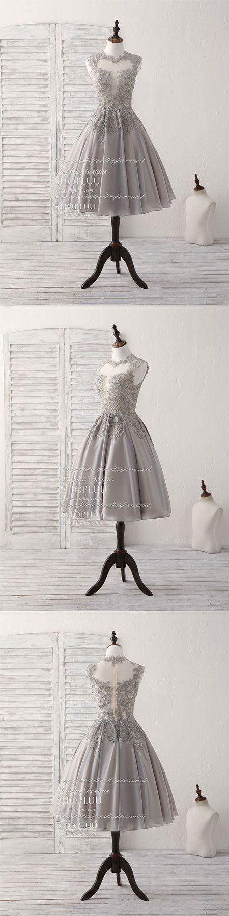 Gray high neck lace chiffon short prom dress gray bridesmaid dress