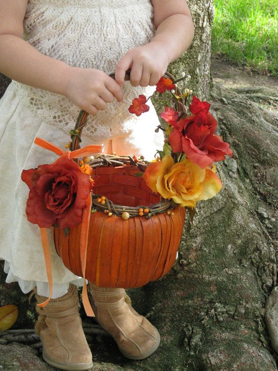 FALL PUMPKIN -- Rustic Harvest Flower Girl Basket for Autumn & Fall Weddings -- Made to Order and Customization is Available in YOUR Colors