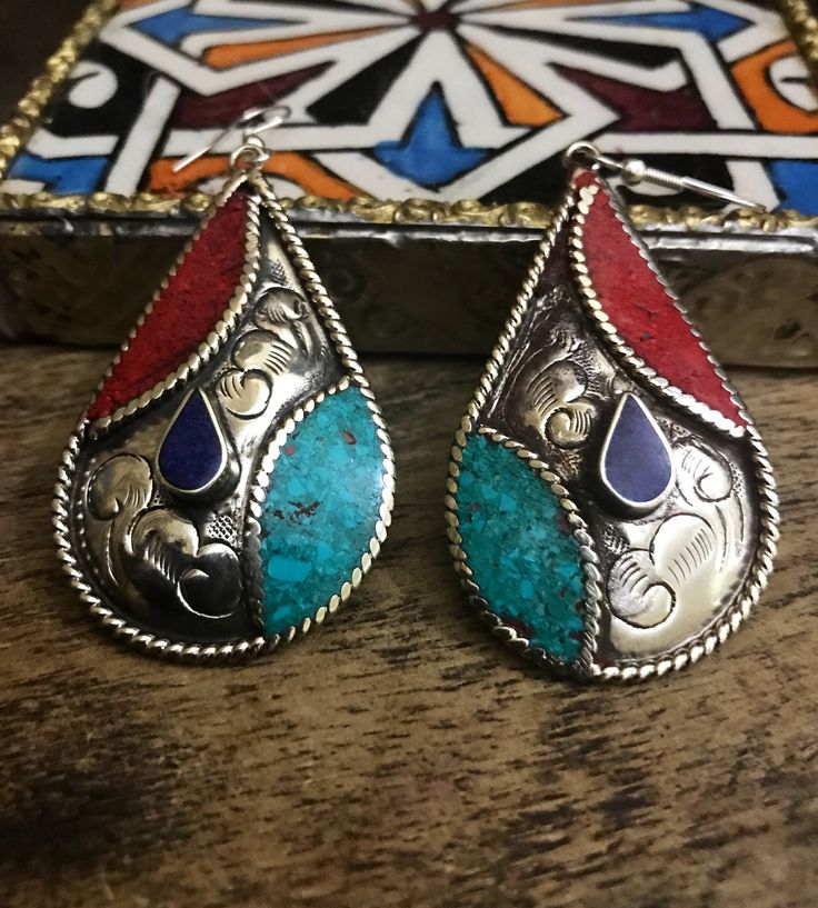 Excited to share the latest addition to my #etsy shop: Ethnic earrings - silver Earrings - Turquoise Earrings - Ethnic Earrings   - Artisan Handmade