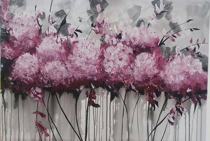 Hortenziák, akril festmény, vászon 70x50 cm